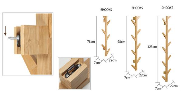 Perchero de pared de madera de bambú DuoxLife chollo en AliExpress