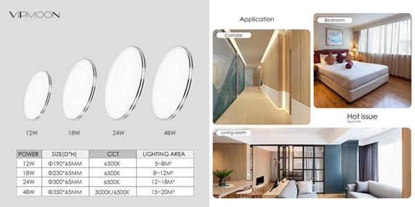 Panel LED circular ultra fino para techo VipMoon de 12W chollo en AliExpress