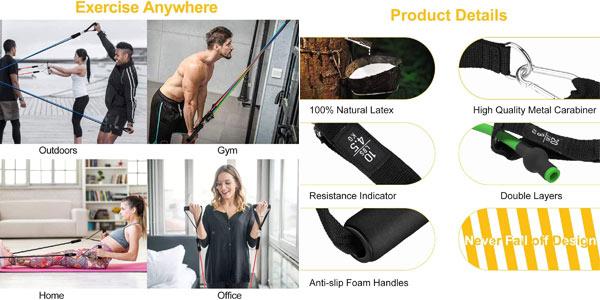 Set x5 Bandas Elásticas para musculación Wotek + accesorios oferta en Amazon