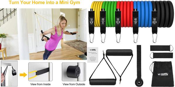 Set x5 Bandas Elásticas para musculación Wotek + accesorios barato en Amazon