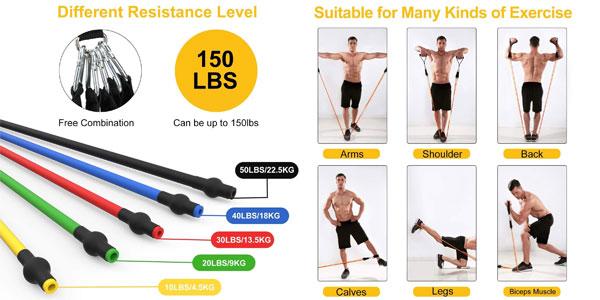 Set x5 Bandas Elásticas para musculación Wotek + accesorios chollo en Amazon