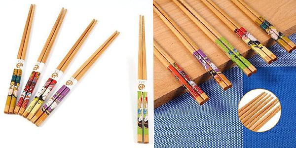 Set x5 pares de palillos de bambú estilo japonés reutilizables Yosoo chollo en Amazon