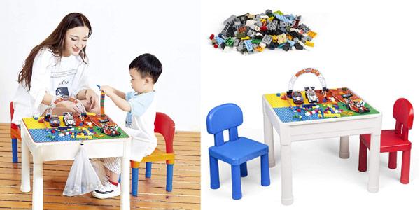 Set infantil de mesa multiusos y 2 sillas Laduo con almacenamiento + 200 bloques LEGO barato en Amazon