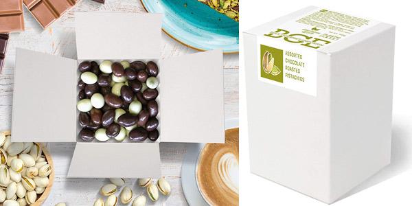 Surtido vegano de pistachos tostados Bulk Gourmet Emporium bañados en chocolate belga barato en Amazon