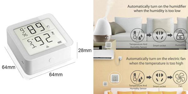 Termómetro higrómetro inteligente Tuya con pantalla LCD chollo en AliExpress