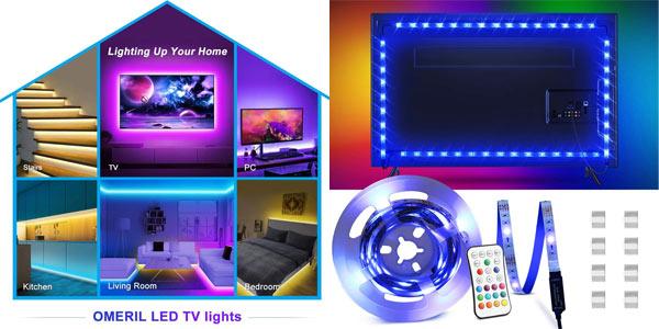Tira LED RGB impermeable Omeril de 2.2 metros, con control remoto y conexión USB barata en Amazon