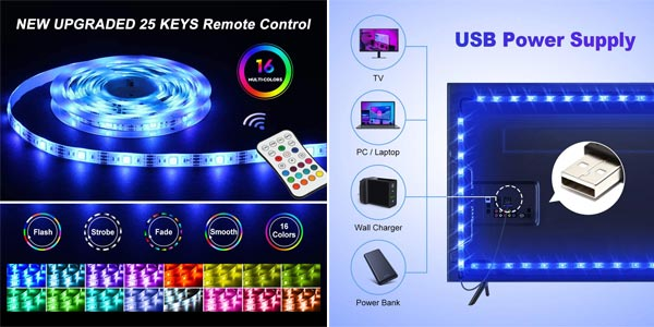 Tira LED RGB impermeable Omeril de 2.2 metros, con control remoto y conexión USB oferta en Amazon