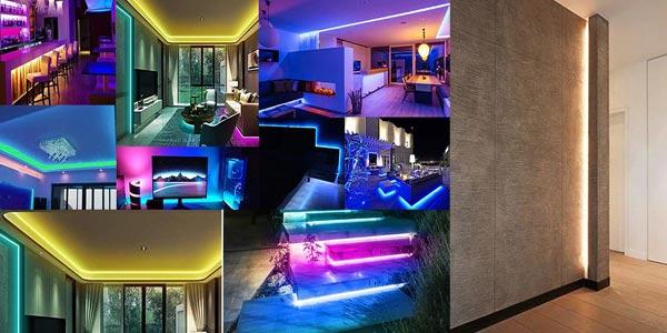 Tira LED RGB de 5m con control remoto oferta en AliExpress