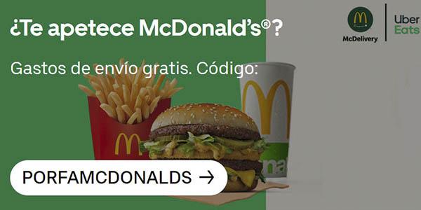 Uber Eats envío gratis Mcdonald's