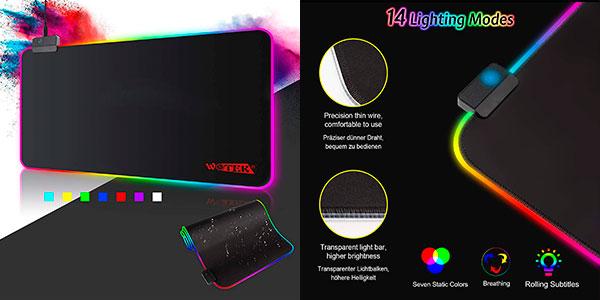 Alfombrilla de ratón gaming Wotek GMS-X5 RGB extra grande con 14 modos de luz barata