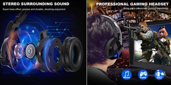 Auriculares gaming TedGem con micrófono incorporado oferta en Amazon