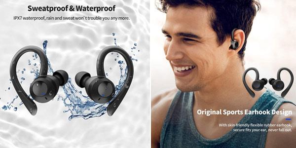 Auriculares deportivos in-ear Axloie G1 con Bluetooth 5.0 y estuche de carga oferta en Amazon