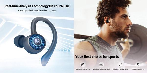 Auriculares deportivos in-ear Axloie G1 con Bluetooth 5.0 y estuche de carga chollo en Amazon