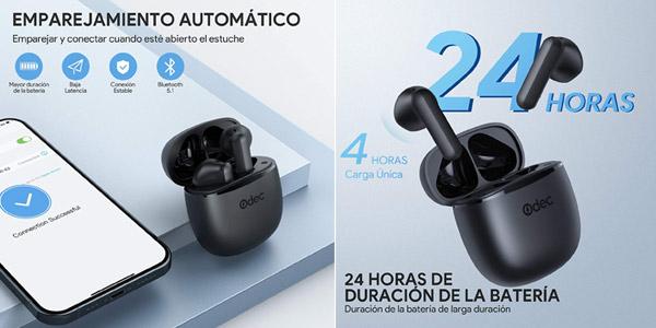 Auriculares inalámbricos in-ear Odec True OD-E3 con Bluetooth 5.1 y estuche de carga chollo en Amazon