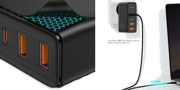 Cargador múltiple USB Baseus C GaN de 100W oferta en AliExpress