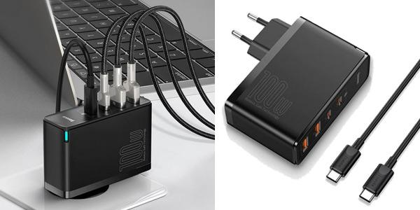 Cargador múltiple USB Baseus C GaN de 100W barato en AliExpress