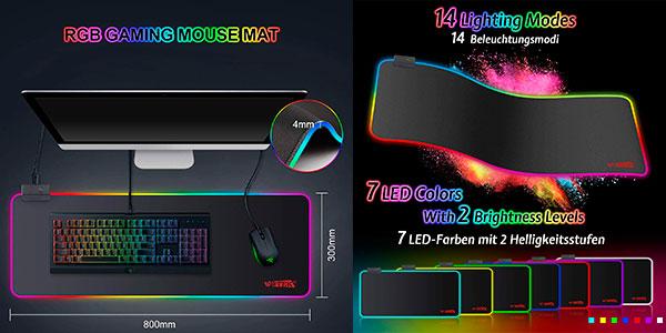 Chollo Alfombrilla de ratón gaming Wotek GMS-X5 RGB extra grande con 14 modos de luz