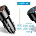 Chollo Cargador de coche Baseus con USB y USB-C de 45 W