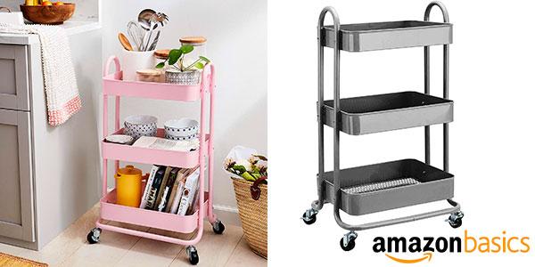 Chollo Carrito multiuso AmazonBasics de 3 niveles