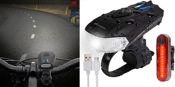Chollo Luces de bicicleta Amanka de 400 lm con USB