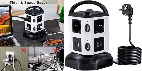Chollo Regleta vertical Sameriver con 6 enchufes y 4 USB
