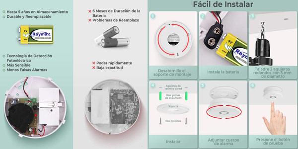 Detector de humo Isafenest con alarma 85 dB y sensor fotoeléctrico oferta en Amazon