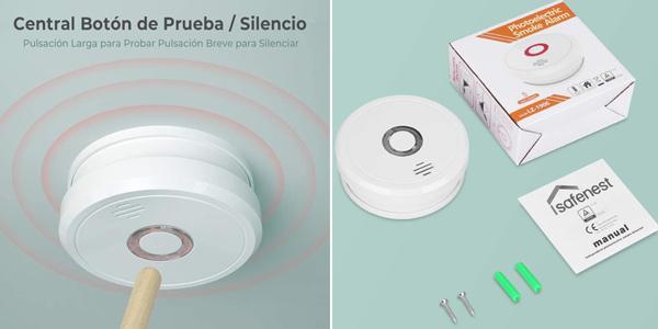 Detector de humo Isafenest con alarma 85 dB y sensor fotoeléctrico chollo en Amazon