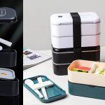 Fiambrera doble con correa tipo Bento Box con cubiertos y soporte para el móvil barata en AliExpress