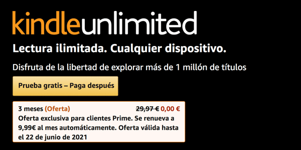 Kindle Unlimited prueba gratuita durante 3 meses
