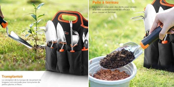 Set 7-en-1 Herramientas de jardín en acero inoxidable oferta en Amazon