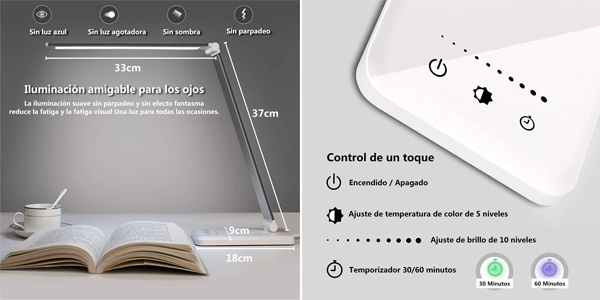 Lámpara LED Slator para escritorio con 10 niveles de brillo y 5 ajustes de luz chollo en Amazon