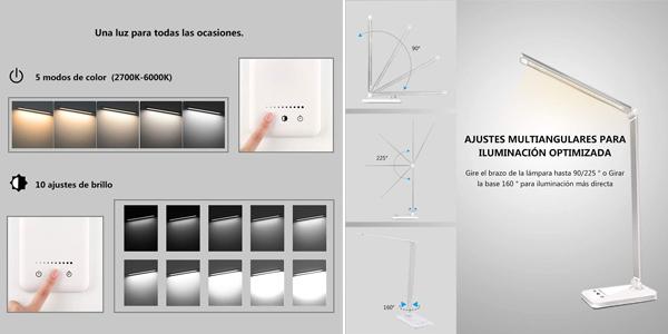 Lámpara LED Slator para escritorio con 10 niveles de brillo y 5 ajustes de luz oferta en Amazon
