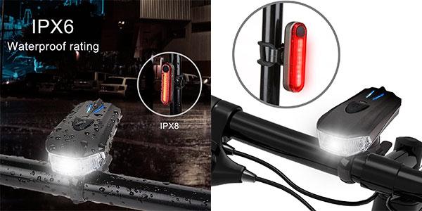 Luces de bicicleta Amanka de 400 lm con USB en oferta