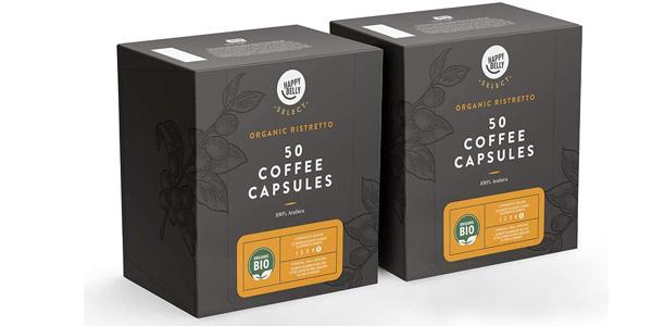 Pack x100 Cápsulas café Amazon Happy Belly Select Ristretto ecológico barato en Amazon