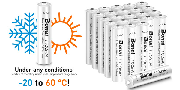 Pack x16 Pilas Recargables AAA Bonai de alta capacidad 1100mAh barato en Amazon