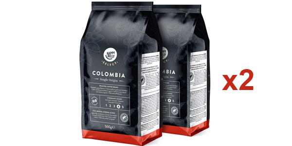 Pack x2 Café en grano Amazon Happy Belly Select Colombia de 500 gr/ud barato en Amazon