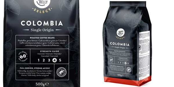 Pack x2 Café en grano Amazon Happy Belly Select Colombia de 500 gr/ud chollo en Amazon