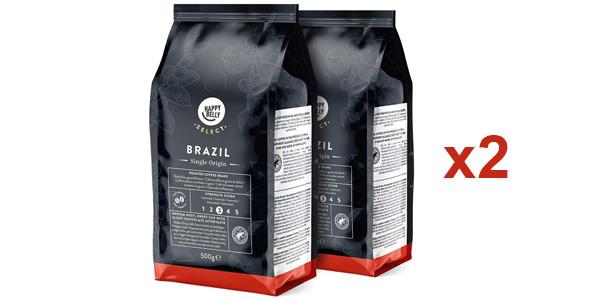 Pack x2 Café en grano Happy Belly Select Brasil de 500 gr/ud barato en Amazon