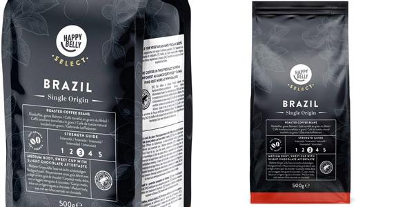 Pack x2 Café en grano Happy Belly Select Brasil de 500 gr/ud chollo en Amazon