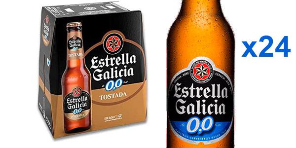 Pack x24 botellines cerveza Estrella Galicia 0,0 Tostada barata en Amazon