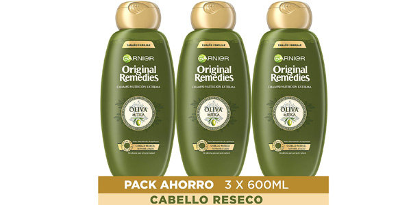 Pack x3 Champú Garnier Original Remedies Oliva Mítica de 600 ml/ud barato en Amazon
