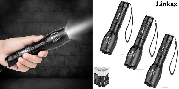 Pack x3 linternas LED Linkax XML-T6 de alta potencia barato en Amazon