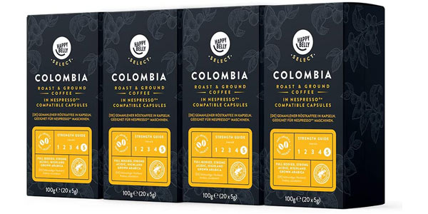 Pack x80 cápsulas café Amazon Happy Belly Select Colombia barato en Amazon