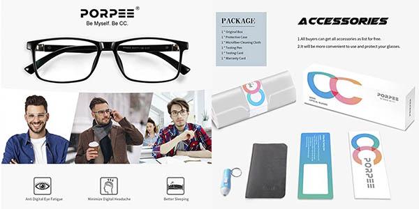 Porpee gafas filtro luz azul fatiga visual oferta