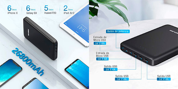 Batería externa Poweradd Pilot Pro 4 de 26.800 mAh con 3 USB barata