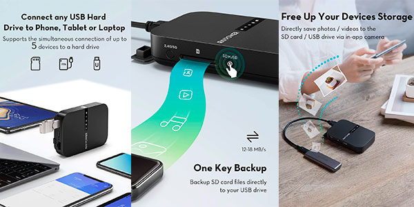 Router portátil RAVPower + amplificador Wi-Fi + lector de tarjetas + batería externa de 6.700 mAh barato