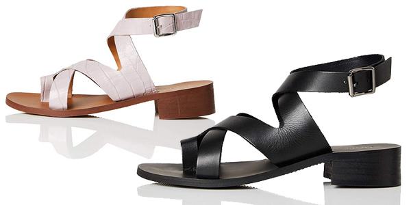 Sandalias de tacón Amazon find Crossover Block Heel Leather para mujer baratas en Amazon