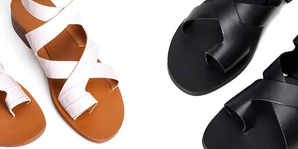 Sandalias de tacón Amazon find Crossover Block Heel Leather para mujer chollo en Amazon