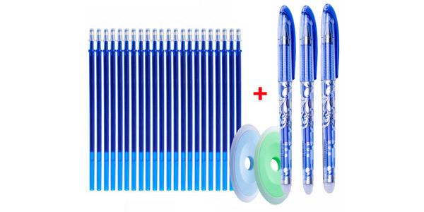 Pack x25 Recambios de bolígrafos de gel borrable + 3 bolígrafos + 2 gomas barato en AliExpress