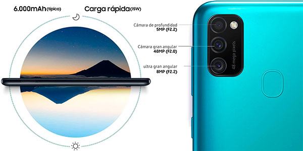 """Samsung Galaxy M21 de 6.4"""" FHD [4 GB + 64 GB] con triple cámara y batería de 6.000 mAh barato"""